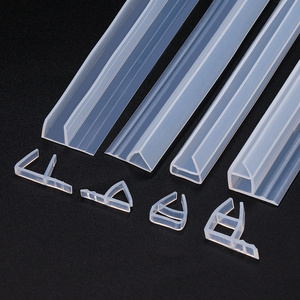 Image 2 - 1M Silicone shower screen seal Sliding Strip F U H Shape Rubber glass door Seals Window Weatherstrip for 6/8/10/12 mm glass