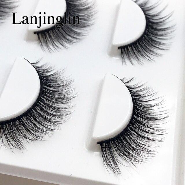LANJINGLIN 10 boxes natural long false eyelashes wholesale make up 3d mink lashes full strip lash eye makeup tool faux cils 3
