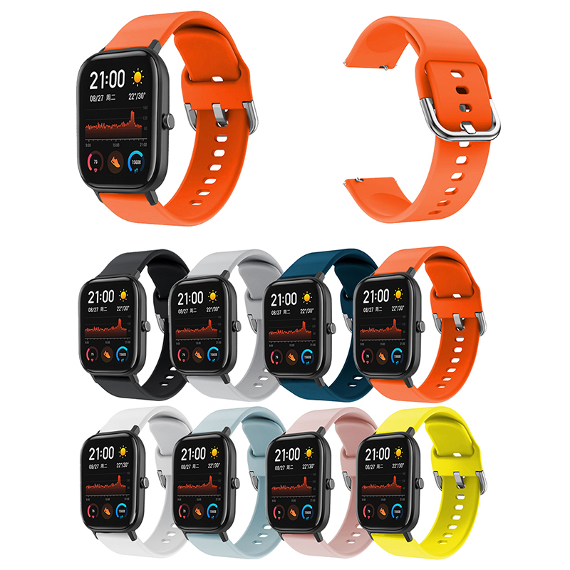 Smart Watch Band For Huami Amazfit GTS 20mm Flat Head Pure Color Multicolor Silicone Concealed Strap Replacement Accessories