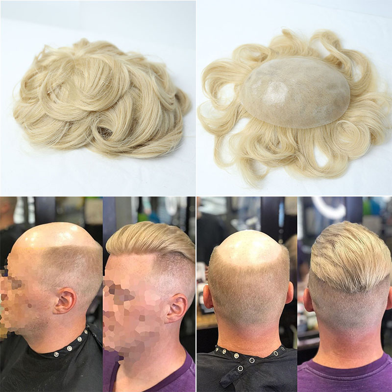 Full Poly Mens Toupee Thin Skin Mens Hairpieces PU Men Hair Replacement Systems For Men Blonde Hair Rosa Queen