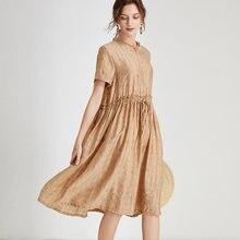 Платье женское из тенсела тонкое элегантное офисное платье большого