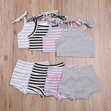 Летний наряд для малышей 2 шт., однотонная майка на лямках и шнуровке в полоску + шорты с эластичным поясом для маленьких девочек