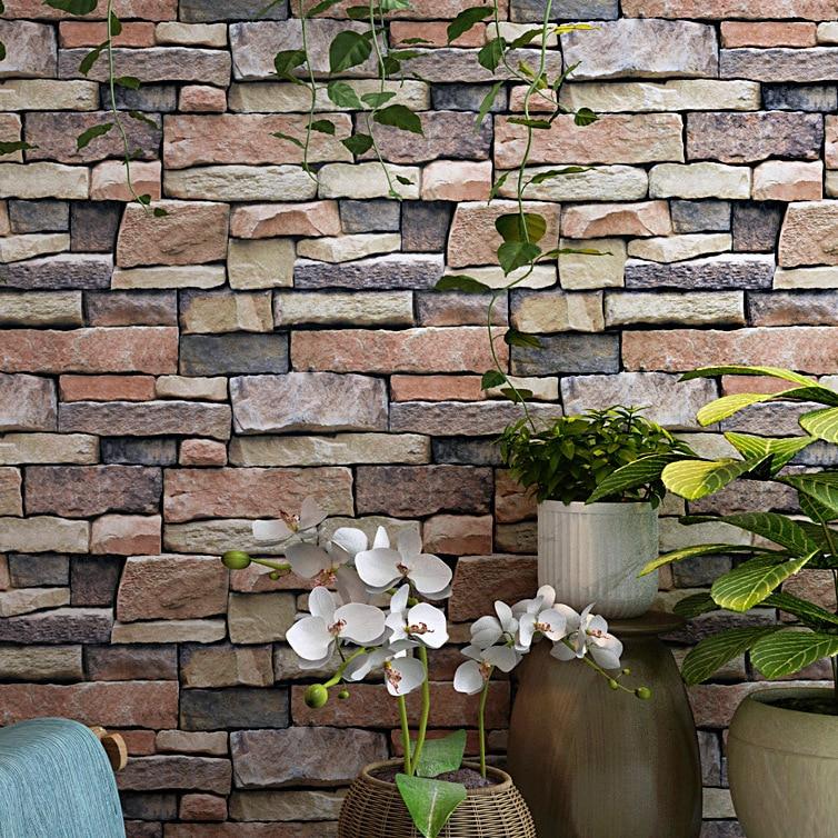 3D Model Brick Pattern Brick Wallpaper Retro Nostalgic Cool Stone Pattern Bar Cafe KTV Industrial-Style Wallpaper