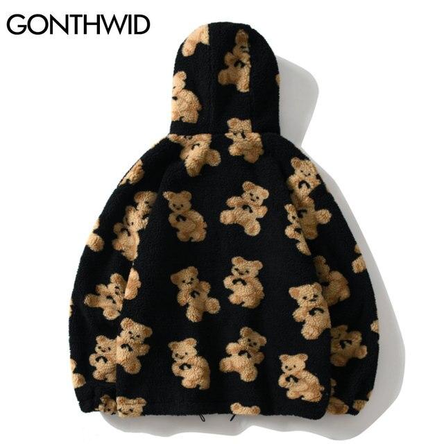 GONTHWID Fleece Hooded Jackets Streetwear Casual Harajuku Hip Hop Men Women Fashion Bear Print Full Zip Hooded Coat Tops Outwear 2