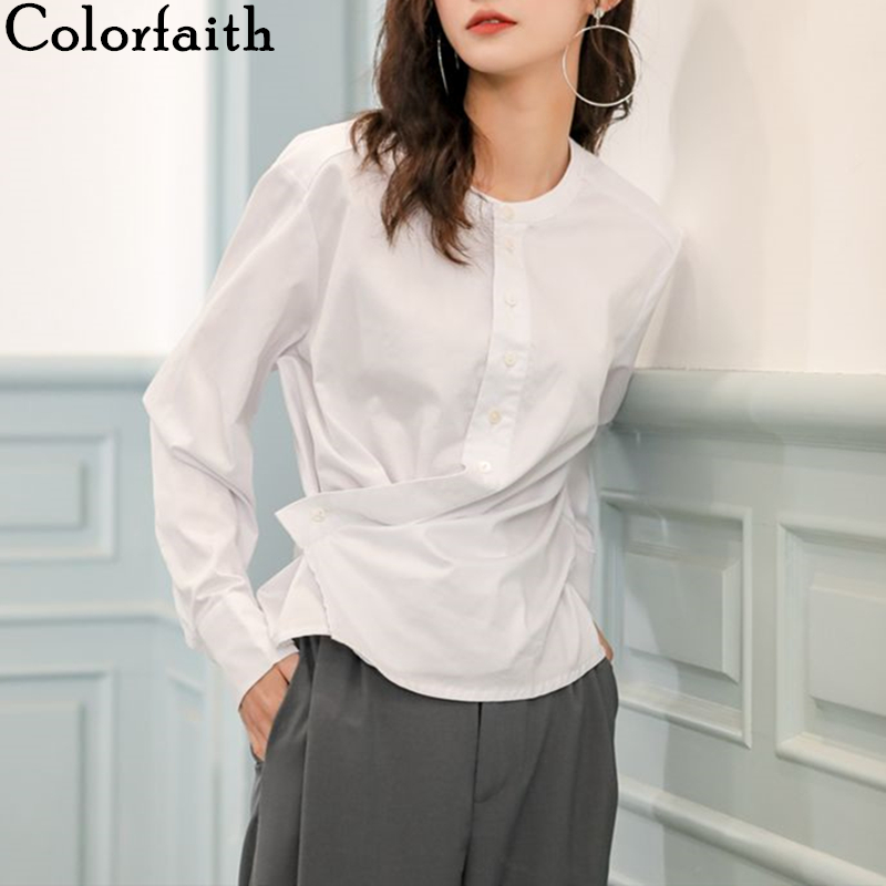 Colorfaith New 2020 Women Spring Summer Blouse Shirts Irregular Hem Single Breasted Casual Pleated Vintage White Lady Tops BL960