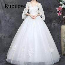 Rubilove 2019 spring and summer new XL wedding dress fat mm thin skinny bride married a word shoulder custom