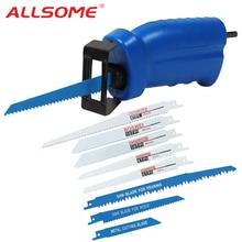 ALLSOME Reciprozaag Metalen Snijden hout Snijden Tool elektrische boor attachment met 3 bladen Power Tool Accessoires HT1569