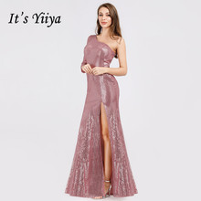 Its Yiiya  Evening Dress One Shoulder Women Party Dresses Shining Sequins Floor Length Robe De Soiree Formal Gowns C536