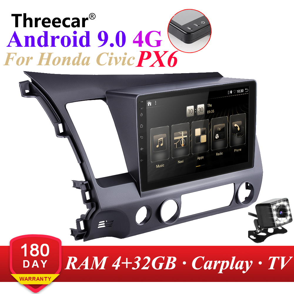 PX6 <font><b>Android</b></font> 9.0 DSP Car Radio For 2006-2011 Honda Civic Multimedia Video Player Navigation <font><b>GPS</b></font> wifi 4G OBD SWC Camera TMPS 2din image