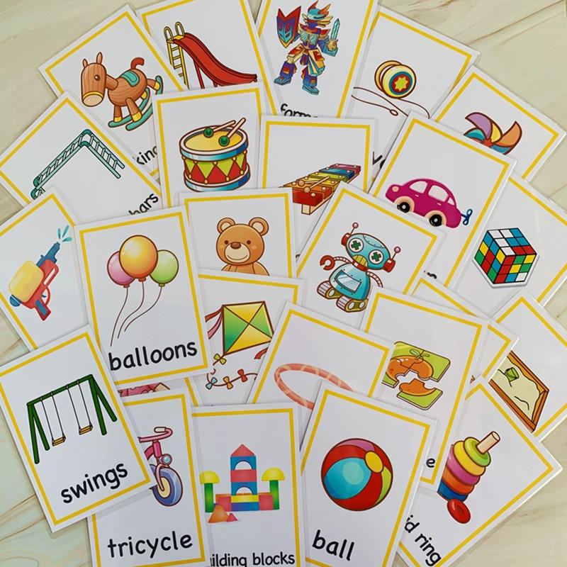 Dorime Interphones pour b/éb/é Anglais dapprentissage Mot de Poche Carte Flash dapprentissage Montessori Jouets /éducatifs Mot de Table Jeu de Cartes pour Les Enfants