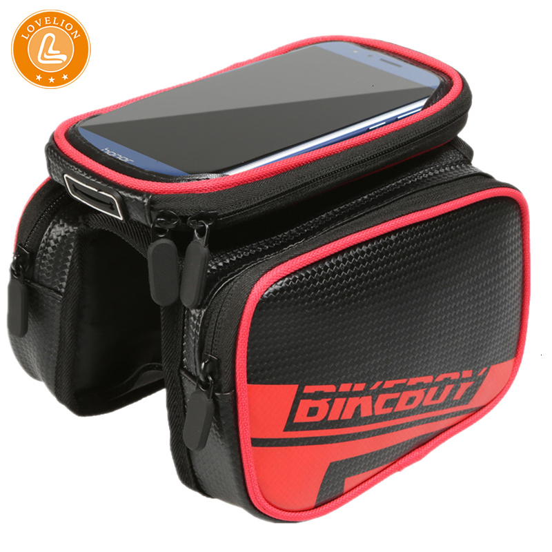 LOVELION Waterproof Mobile Phone Bag Case Multi-functional Bike Front Tube Frame HandBags Hold