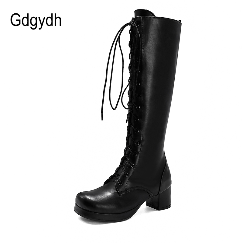 Gdgydh 2020 Autumn Lace-Up Women Motorcycle Boots Square To Low Heels Knee High Boots Winter Female Footwears Plus Large Size