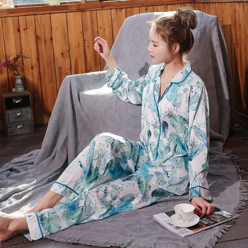 Youhottest Women Sleepwear Silk Pajamas Satin Long Sleeve Pajamas Sets