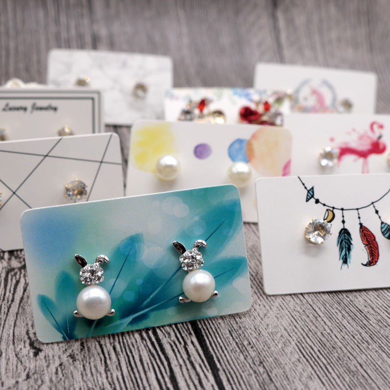 100PCS Multi Color Paper Cute Stud Earring HangTag Card Custom Logo Cost Extra Jewelry Display Packing Card image