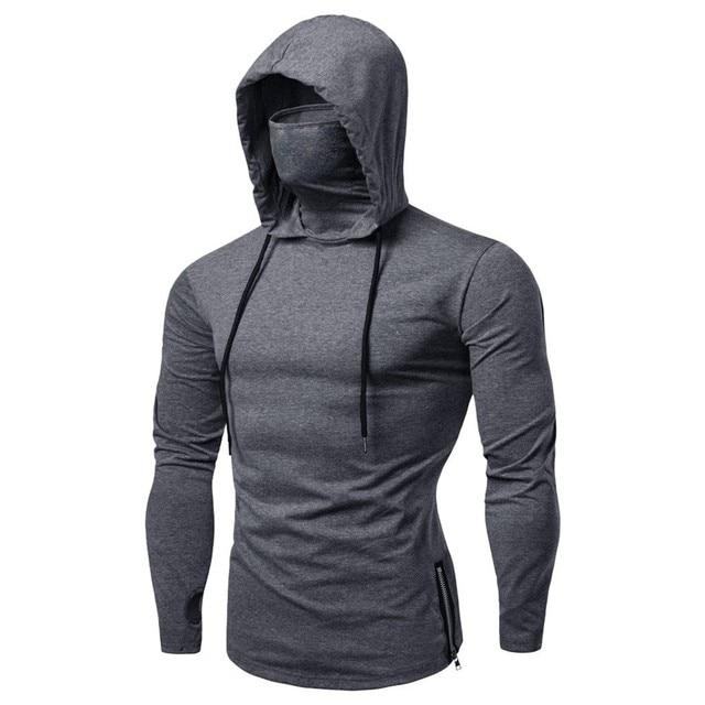 Mens Maske Button Hooded Sports Hooded Splice Large Open-Forked zipper Male Long Sleeve Sweatshirt Hoodies sudaderas para 5