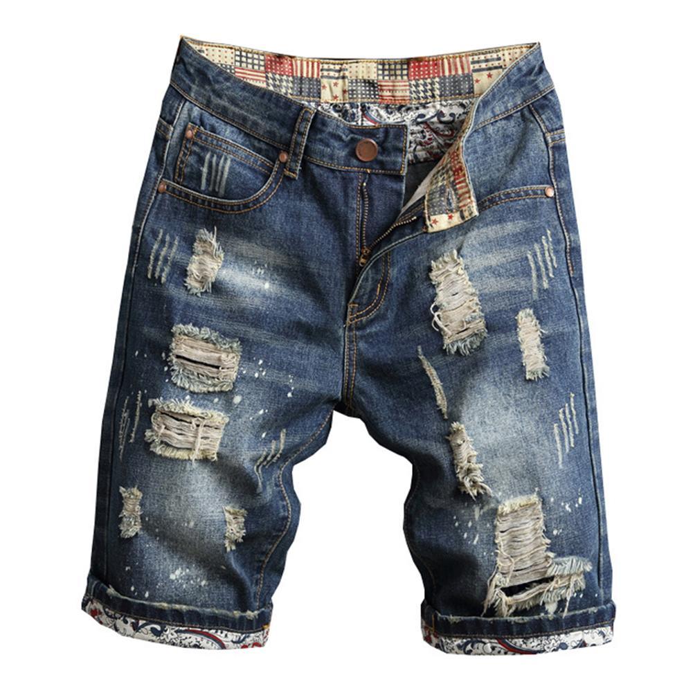 Retro Summer Men Ripped Denim Shorts Jeans Destroyed Hole Plus Size Fifth Pants