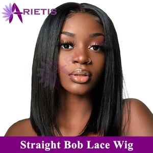Прямые короткие парики из человеческих волос 13x4 Синтетические волосы на кружеве парик прямые боб Синтетические волосы на кружеве парики ...