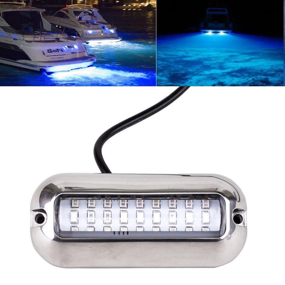 1pc 50W Stainless Steel Transom Light 27LED Blue Boat Light Underwater Pontoon Marine Ship Boat Accessories Auto Parts
