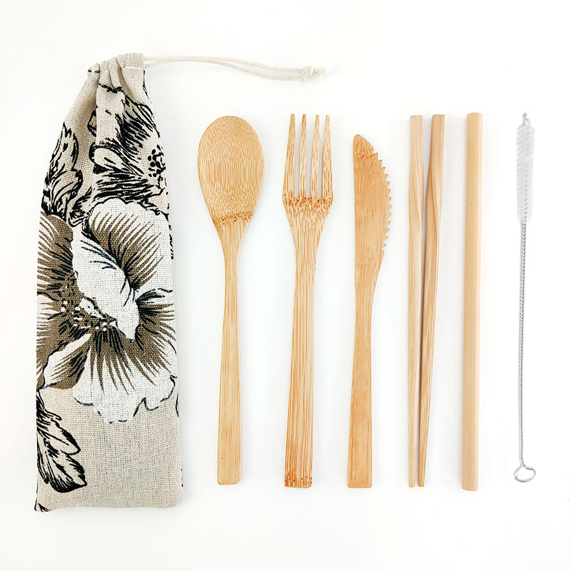 Zero Waste 7Pcs/Set Portable Reusable Bamboo Cutlery Set Biodegradable Fork Spoon Knife With Cloth Bag For Tableware