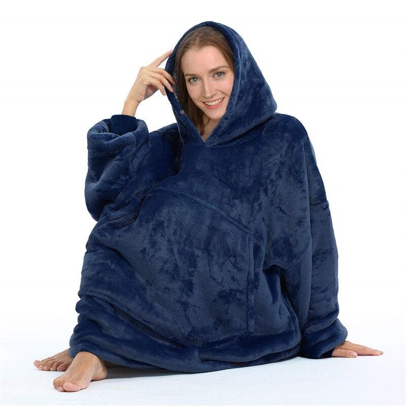 Winter Huge Hoodie Sweatshirt Warm Hooded Coat Soft Blanket Outdoor Warm Comfy Hoodie Bathrobe Robe Fleece Blanket For Men Women