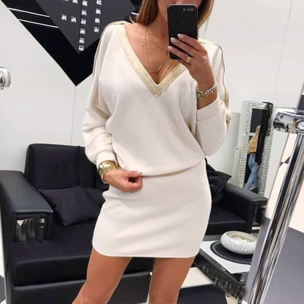 Solid Low Neck Sexy Bodycon Dress Long Sleeve Cross Basic Autumn 2020 Mini Black White Club Dress Women Vestidos#J30