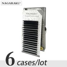 NAGARAKU 6 מקרי בתפזורת 7 ~ 15mm לערבב פו מינק ריס הארכת טבעי 16 שורות לאש מגשי ריסים בודדים איפור cilios