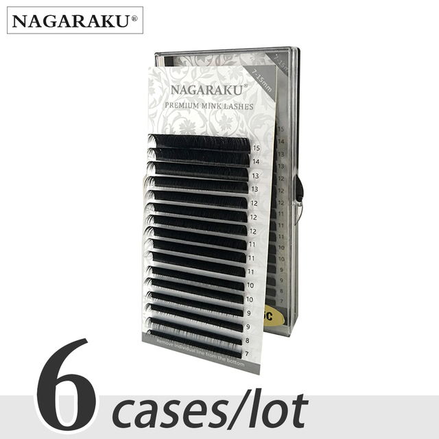 NAGARAKU 6 cases bulk 7~15mm MIX Faux mink eyelash extension natural 16rows lash trays  individual eyelashes makeup  cilios