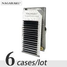 Nagaraku 6 Trường Hợp Số Lượng Lớn 7 ~ 15 Mm Mix Giả Chồn Cây Nối Mi Tự Nhiên 16 Hàng Mi Khay Cá Nhân Lông Mi trang Điểm Cilios