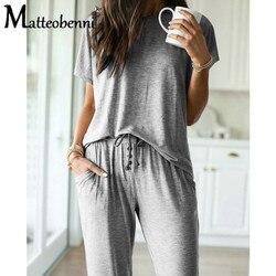 2021 Summer New O-Neck Short Sleeve Casual O-neck T-shirt Top+Drawstring Long Pant Women Button Decor 2 Piece Set Plus Size 3XL
