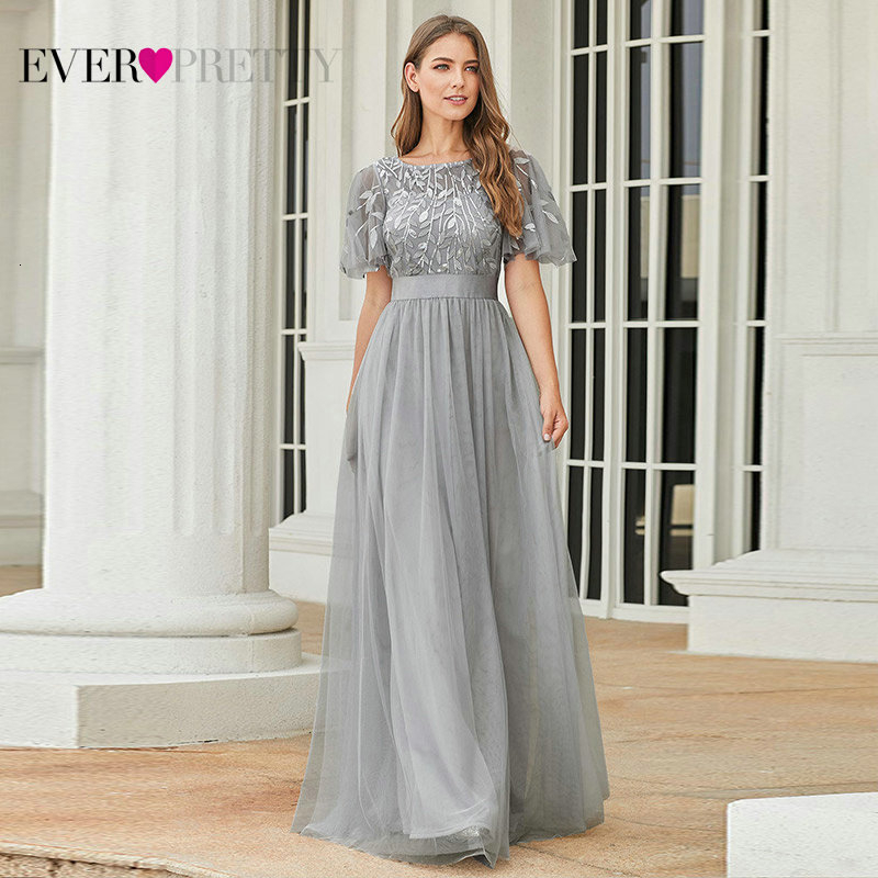 >Sparkle Grey <font><b>Prom</b></font> <font><b>Dresses</b></font> Ever Pretty A-Line O-Neck Sequined Short Sleeve Elegant Evening Party Gowns Robe De Soiree Femme