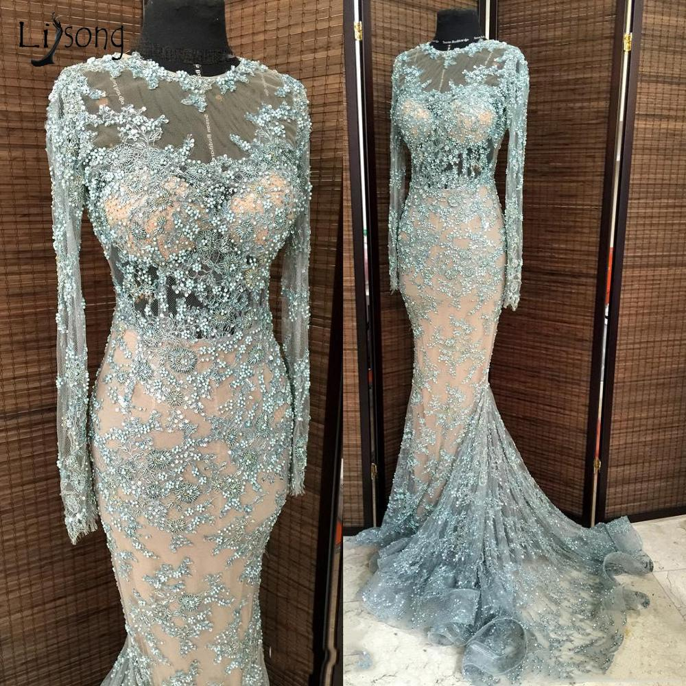 Elegant Floral Lace Mermaid Evening Dresses Full Sleeves Pearls Appliques Ruffles Long Prom Gowns Nude Lining Abendkleider