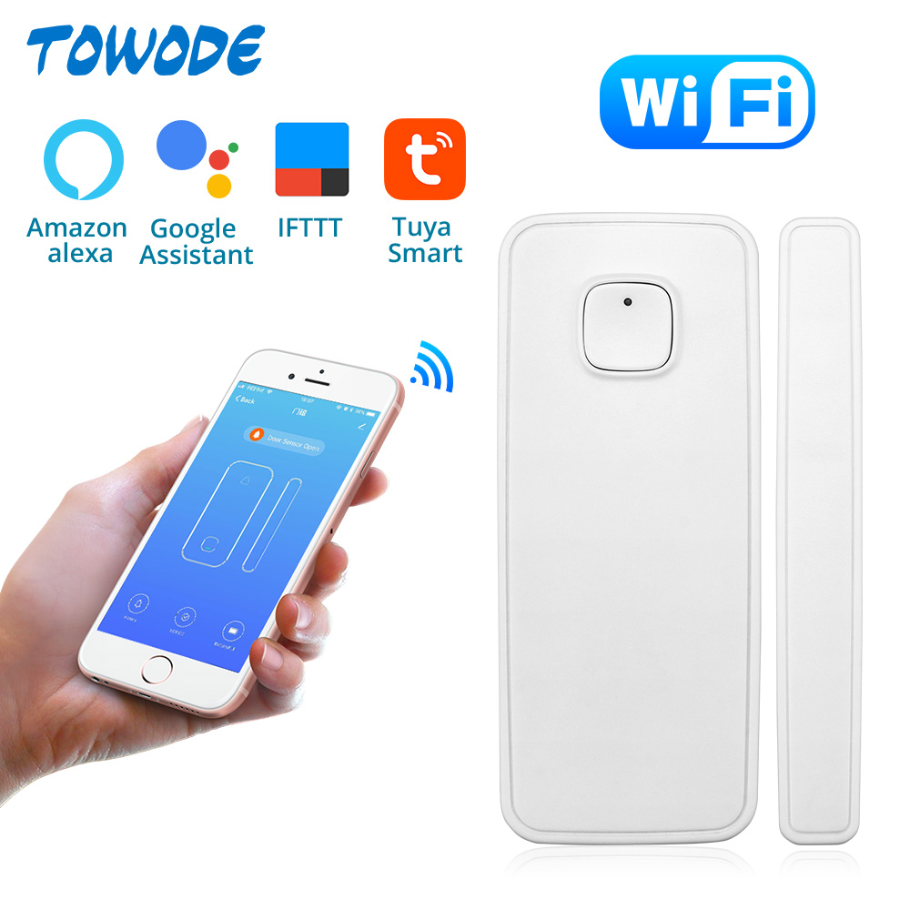 Sensor de puerta WIFI Towode, Control de aplicaciones, alarma de seguridad de puertas, interruptor magnético, Sensor inalámbrico de apertura de ventana, Compatible con Alexa