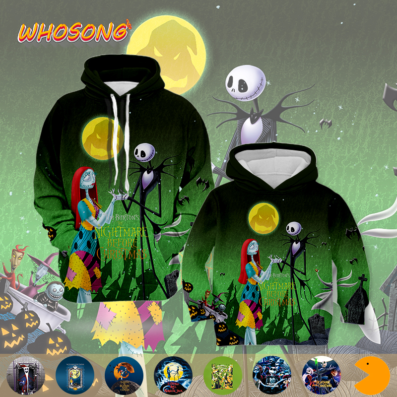 WHOSONG 3D Hoodies The Nightmare Before Christmas Kids Men Classic Cartoon Popular Jacket Sweatshirt Casual Retro Tops