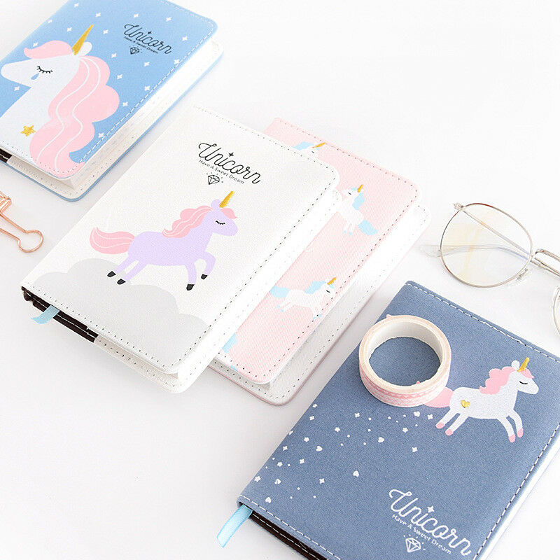 Embroidery Unicorn Paper Notebook Girls Cute Diary Bullet Journal Planner Color Inside Page Travel