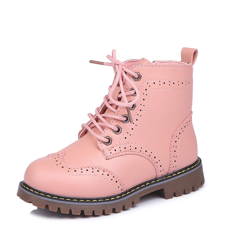 Comfy Kids Autumn Winter Pu Leather Girls Martin Boots Shoes Fashion Comfortable Plush Warm Girls Snow Boots Shoes