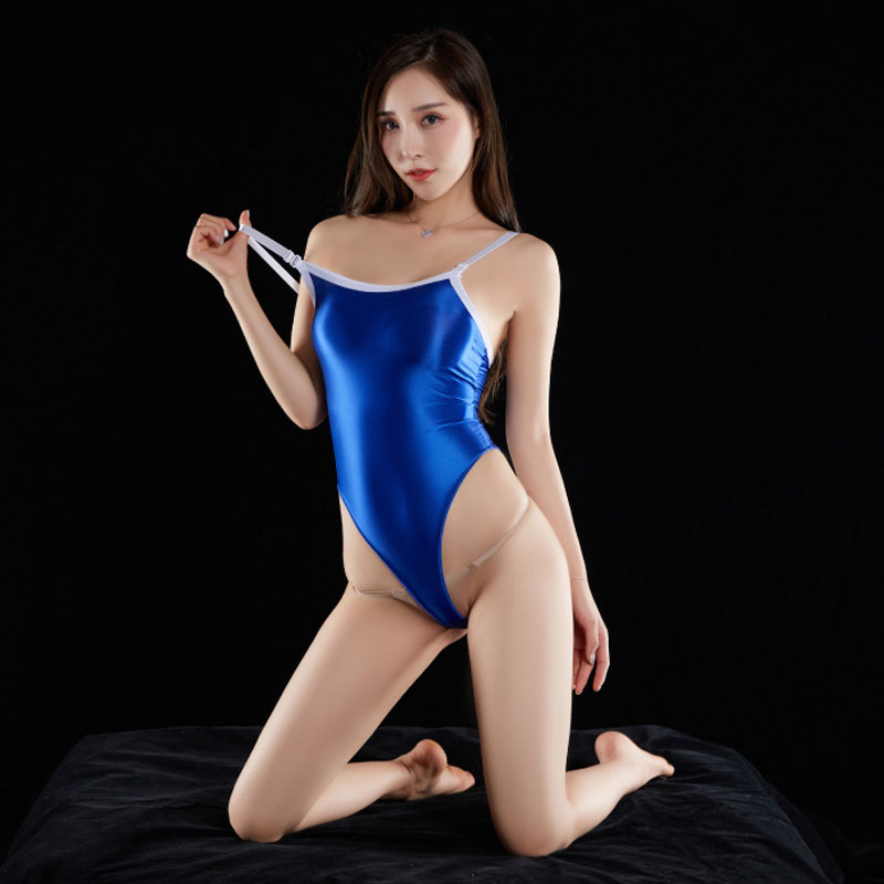 Sexy Women Shiny Gloosy High Cut Bodysuit Sexy Shaper Bodysuit Sheer Backless Stage Wear Thong Leotard Sexy Tight Candy Color F2