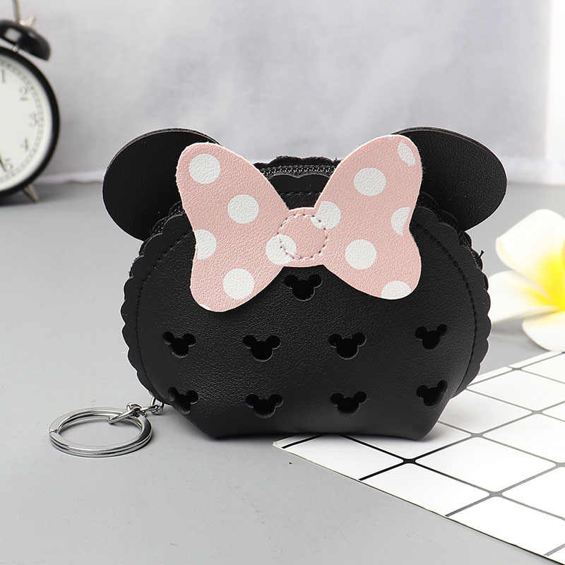 Disney Minnie Hollow PU Coin Purse Cute Cartoon coin bag Lady Wallet Multifunction Coin Bag Headphone Bag card holder