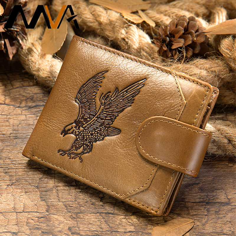 MVA Men's Wallet Genuine Leather Men's Purse For Men Bifold Money Purse Male Wallets With Coin Pocket Slim Wallet For Cards 7040