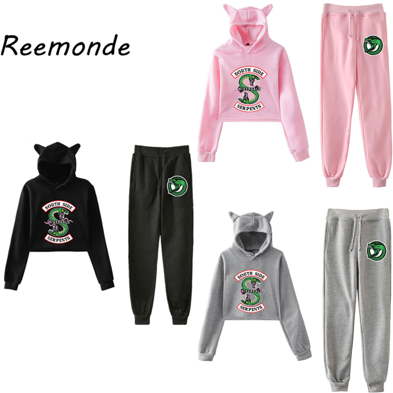 South Side Serpents Riverdale Hoodie Sweatshirts Pants Women Girls Female Harajuku Riverdale SouthSide Pullover Hooded Tops Sets
