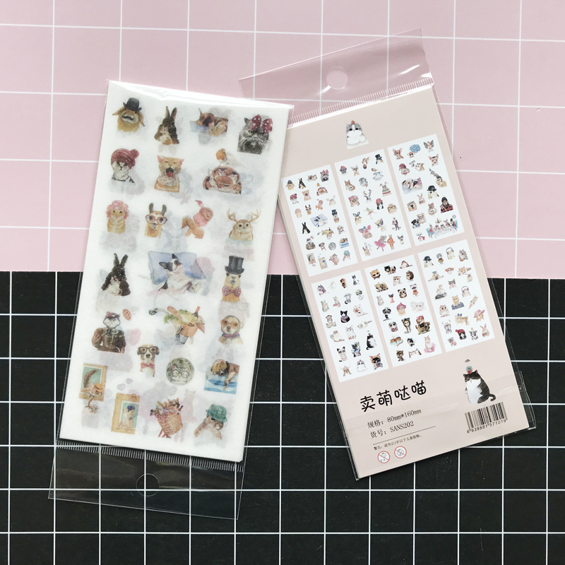6 Sheets/ Pack Cute Cat Dog Rabbit Adhesive  Paper Stickers Decorative Album Diary Stick Label Paper Hand Account Decor