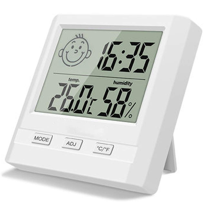 Digital Indoor Hygrometer Thermometer With Time Display,Accurate Temperature Humidity Monitor Meter For Home,Office,Nursing Room