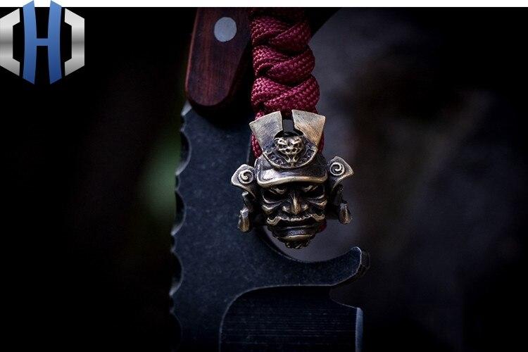 Original geral samurai capacete paracord contas pingente