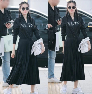 Lettered Sun Na Well Early Autumn Celebrity Style Black And White With Pattern South Korea Shirt Dress Airport-Ol-Style Office L