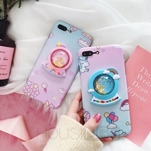 For iPhone XR Cute Case 7 8 6 6s Plus X XS Max Quicksand Cover Unicorn Couqe Star Shell Crystal Ball Funda Cartoon