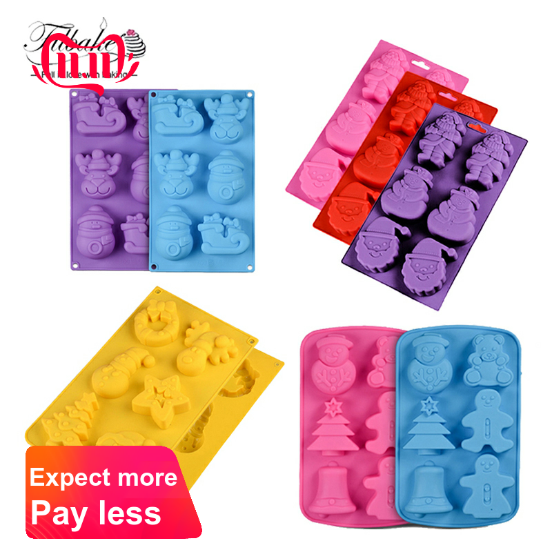 Cake Pan Christmas Supplies 6 Cavities Tree Snowman Santa Claus Handmade Soap Mould Ice Cube Tray 3D DIY Silicone Mold