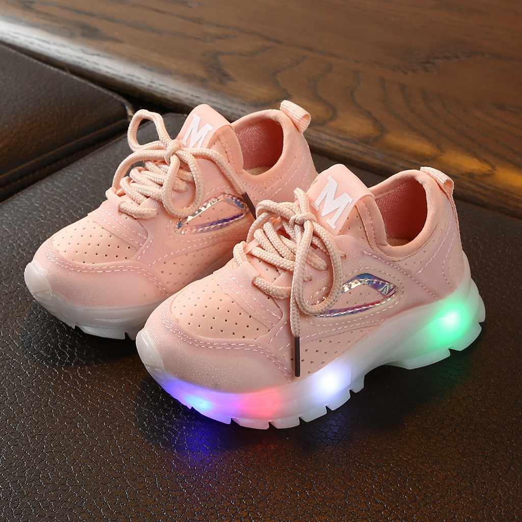 Children Luxury LED Sneakers 2020 Designer Baby Boys Girls Bling Light Sports Shos Fashion School Casual Flats Shoes Pink Tenis