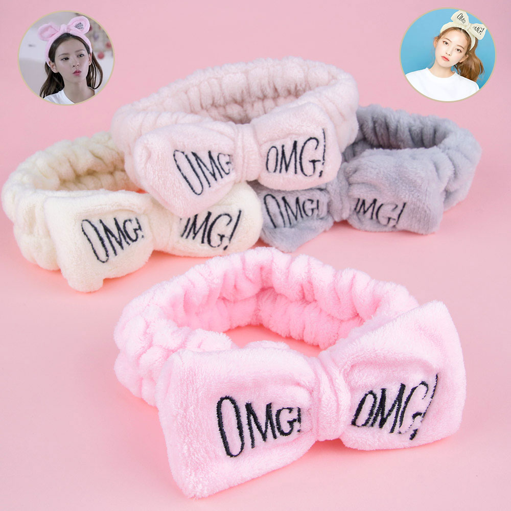 Women Headbands Face Washing Ears Hair Holder Makeup Hair Band Girls Bows Knot Spa Headbands Coral Fleece Hairbands Accessories(China)