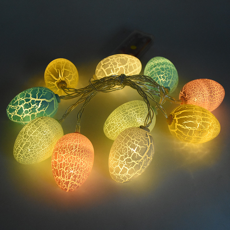 2020 New 1 Set Easter Eggs 10 LED String Lights Happy Easter Decoration Lights Warm White Rabbit Easter Home Decoration