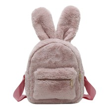 Fashion Plush 3D Rabbit Ear Backpack Girls Bolsas Women Personality Animal Backpacks Student Funny Travel Bag 2019 #YL5