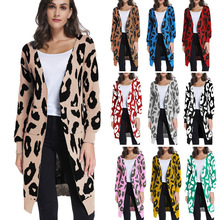 Autumn Fashion Woman Sweaters Long Sleeve Leopard Print Knit